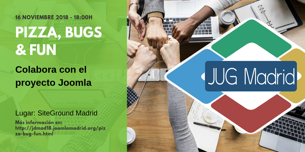 Joomla Pizza, Bugs and Fun en el JoomlaDay Madrid 2018